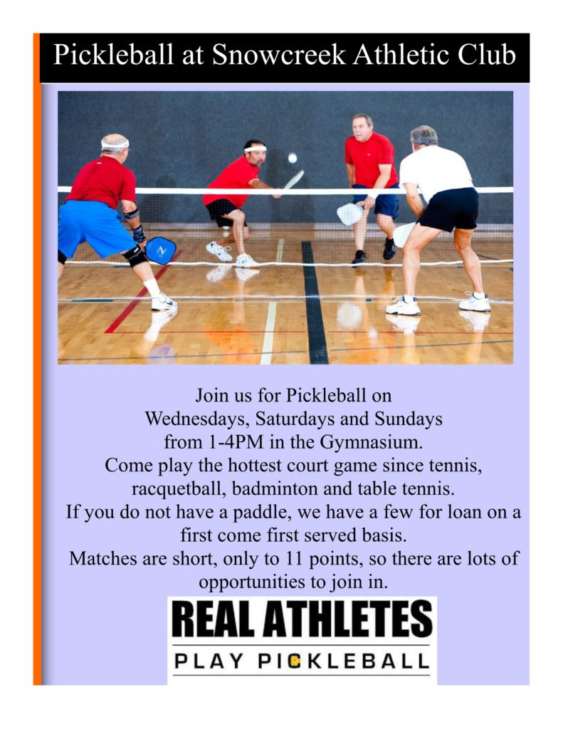 Summer 2016 Pickleball Schedule